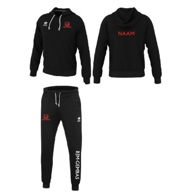 Erreà Warren3.0 sweater zwart/Denali broek set - BJM-Gembas