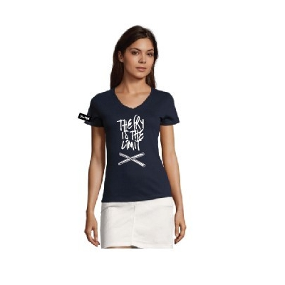 Kjell&Yane t-shirt-women v neck-navy -The Fry is the Limit