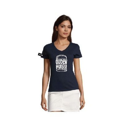 Yane&Kjell t-shirt-women v neck-navy -Oudenburger