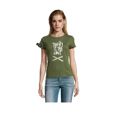 Yane&Kjell t-shirt-women round neck-green-The fry is the limit