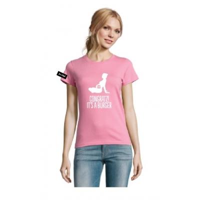 Yane&Kjell t-shirt-women round neck-pinck-Congratulations